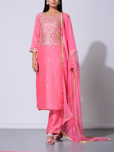 Pink Vasansi Silk Gota Patti Suit Set