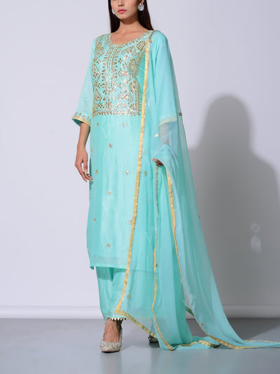 Sea Green Vasansi Silk Gota Patti Suit Set