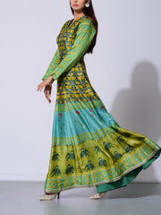 Green Vasansi Silk Anarkali Gown