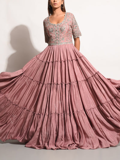 Old Rose Embellished Pleated Gown
