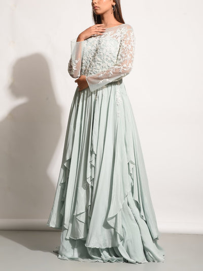 Ice Blue Embroidered Asymmetric Gown