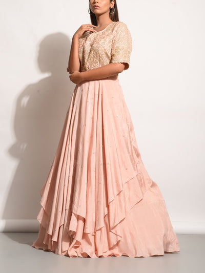 Peach Embroidered Asymmetric Silk Gown