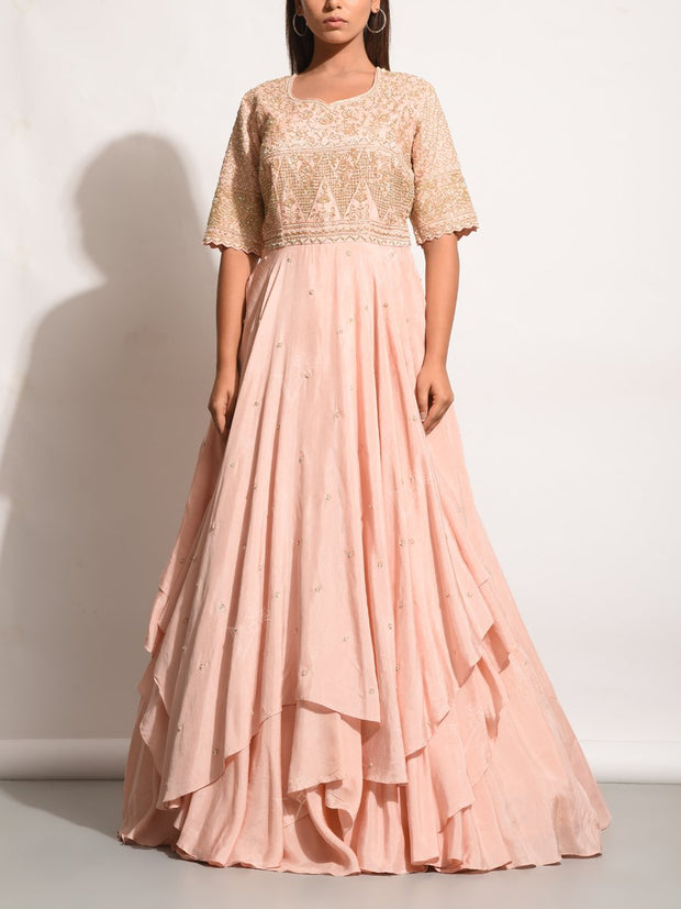 Gown, Gowns, Evening gown, Anarkali, Anarkalis, Embellished, Embroidered, Flowy, Party wear, Designer wear, Heavy, Asymmetric, Pastel, MTO, DD28