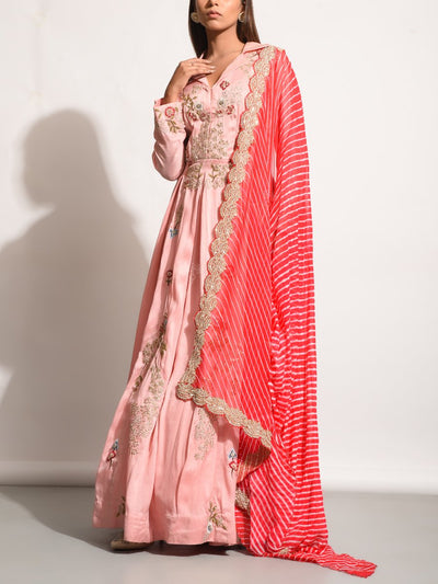 Baby Pink Silk Embroidered Anarkali Gown
