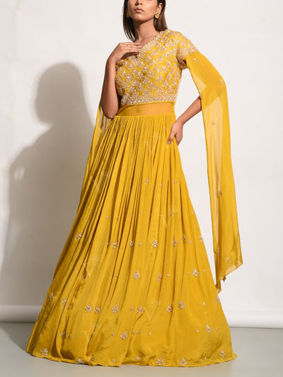 Mustard Yellow Embellished Crepe Gown