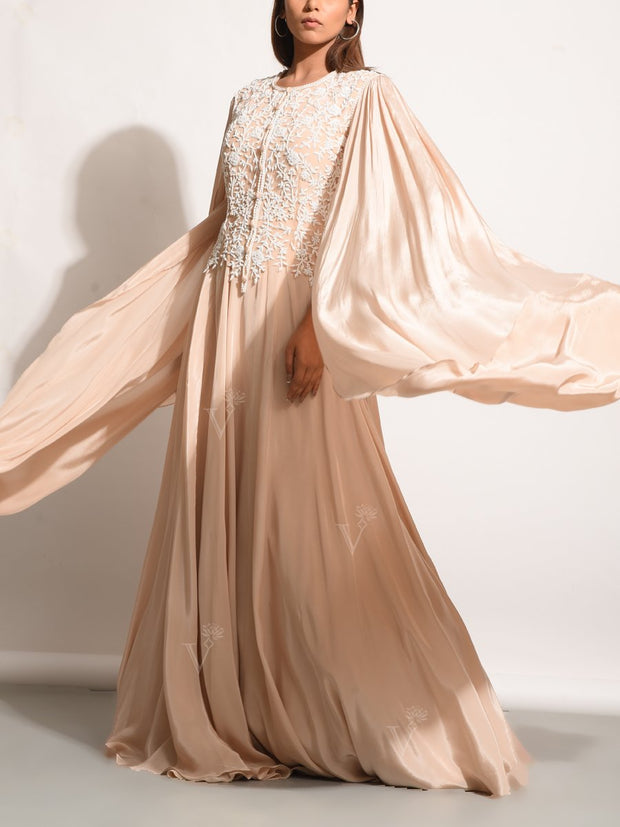 Champagne Wrinkle Crepe Embellished Gown