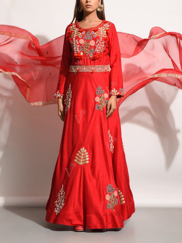 Red Embroidered Silk Anarkali Gown