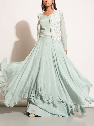 Pale Seafoam Asymmetric Gown With Embellished JAcket