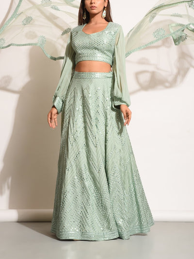 Mint Green Embellished Silk Lehenga Set