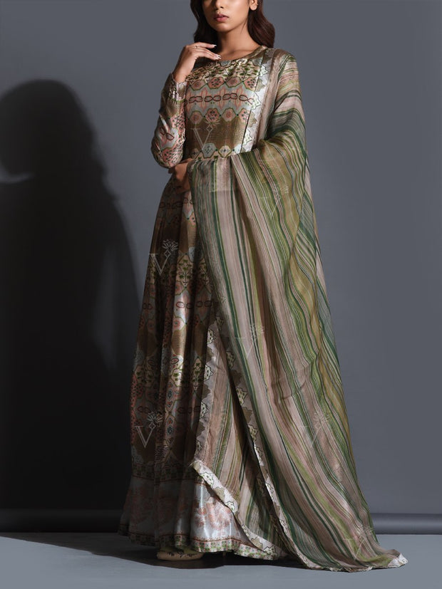 Moss Green Printed Anarkali Gown