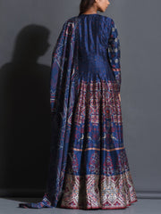 Mid Night Blue Silk Printed Anarkali Gown
