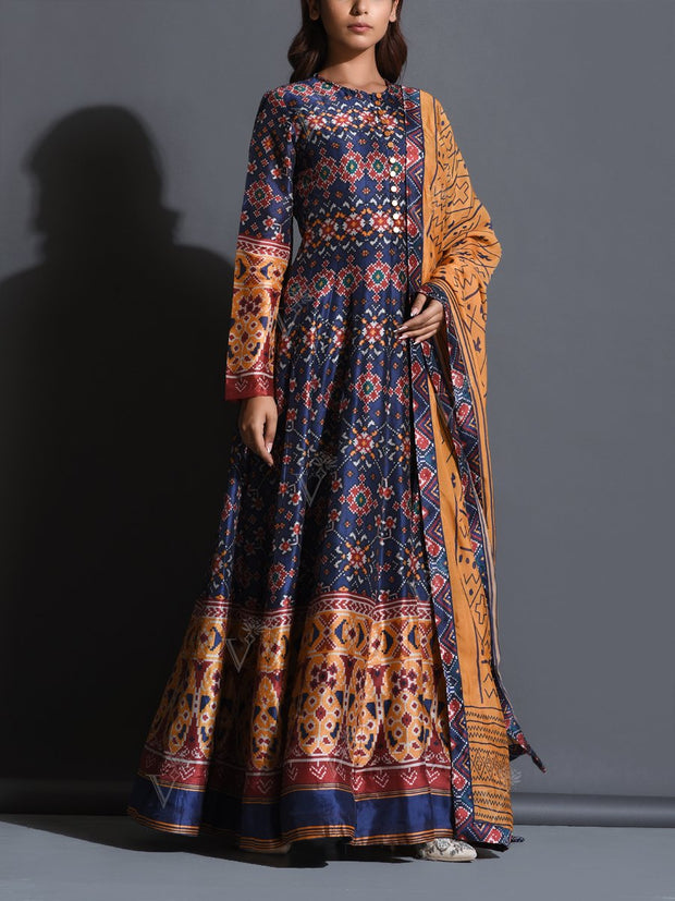 Navy Blue Patola Printed Anarkali Gown