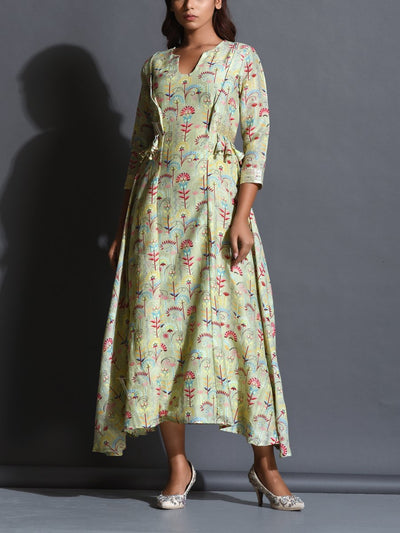 Dress, Dresses, Chanderi, Chanderi silk, Western, Westerns, Printed, Light weight, Floral print, Asymmetric,  _label_NEW
