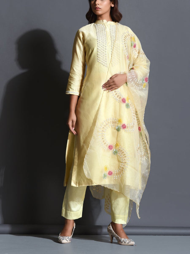Pastel Yellow Embroiderd Silk Suit Set
