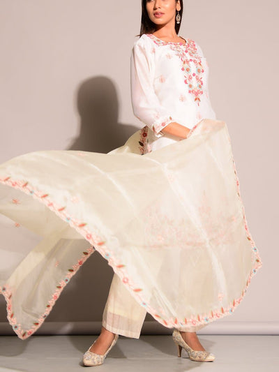 Off White Chanderi Suit Set