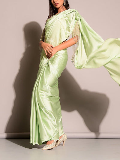 Pista Green Satin Saree