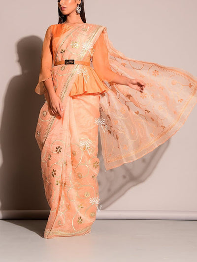 Peach Pure Organza Saree