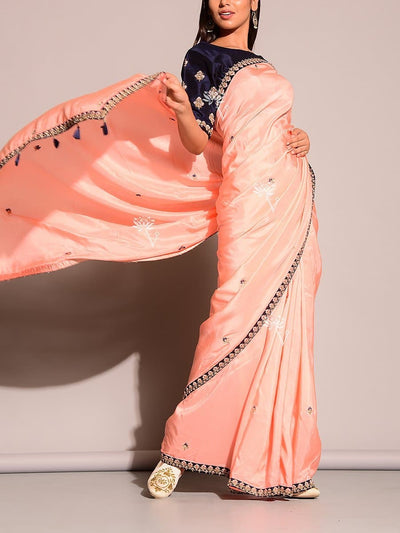 Peach Dola Silk Saree