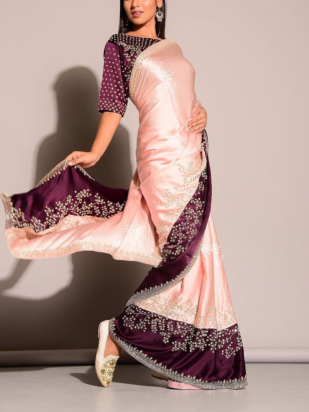 Pink & Wine Satin Saree