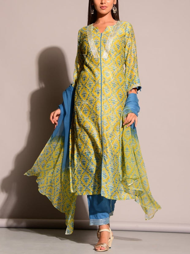 Green Printed Kurta Set