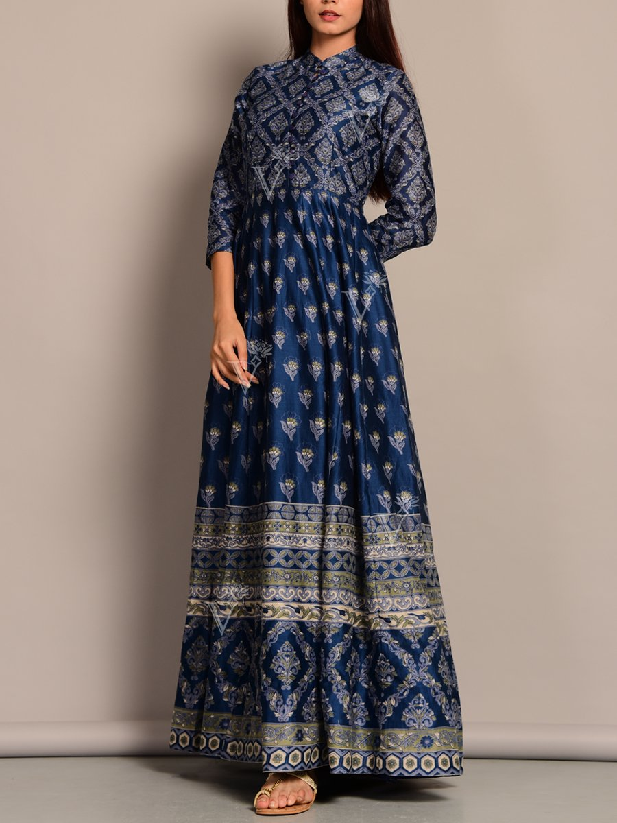 Deep Blue Anarkali Suit with Pretty Ethnic Print