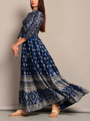 Deep Blue Anarkali  Tunic