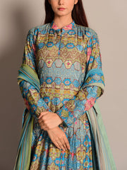 Gothic Blue Printed Anarkali Gown