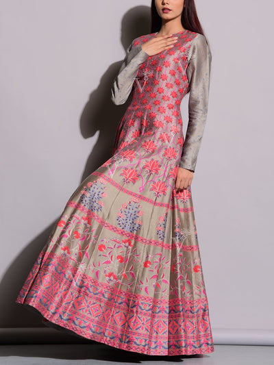 Grey Printed Silk Anarkali Gown