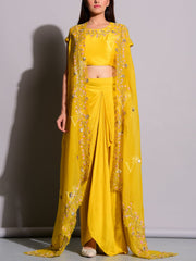Yellow Drape Pant With Embroidered Jacket