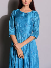 Blue Bandhani Silk Anarkali Tunic