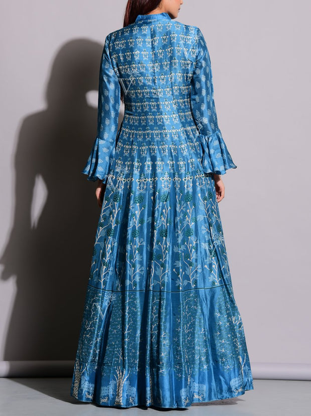Sail Blue Printed Anarkali Tunic