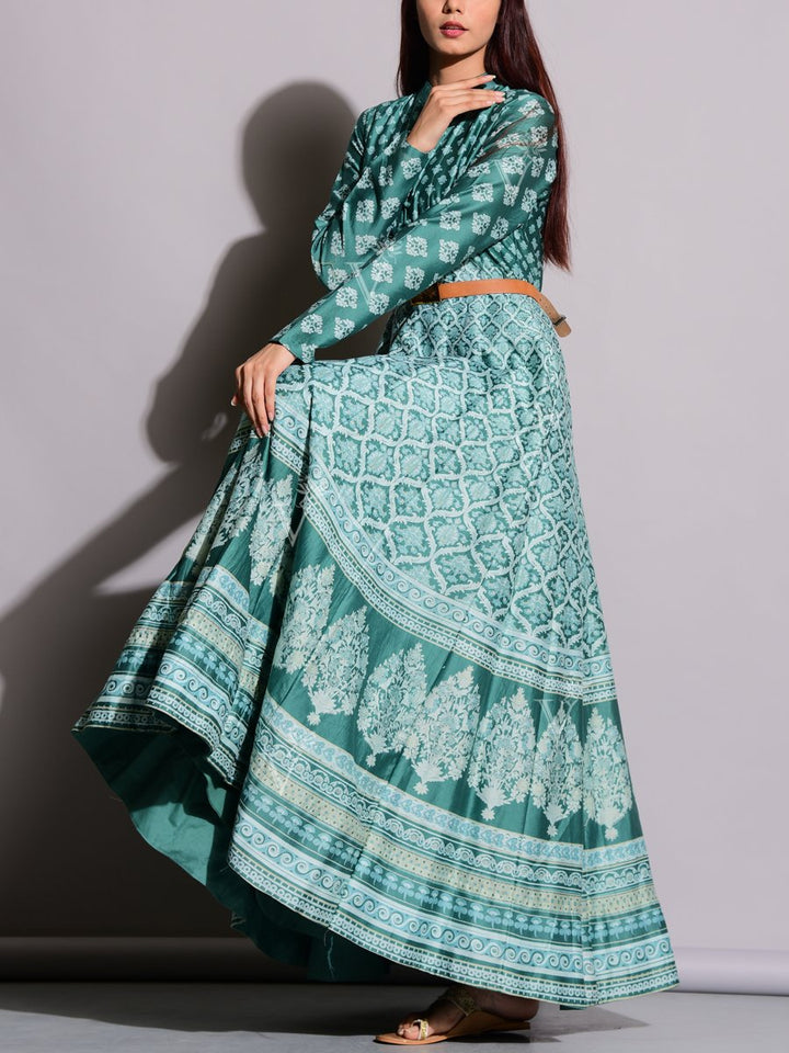 Jade Green Anarkali Suit with Unique Print