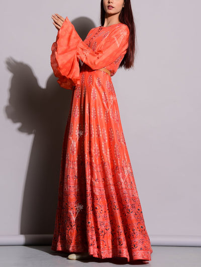 Coral Printed Anarkali Silk Tunic
