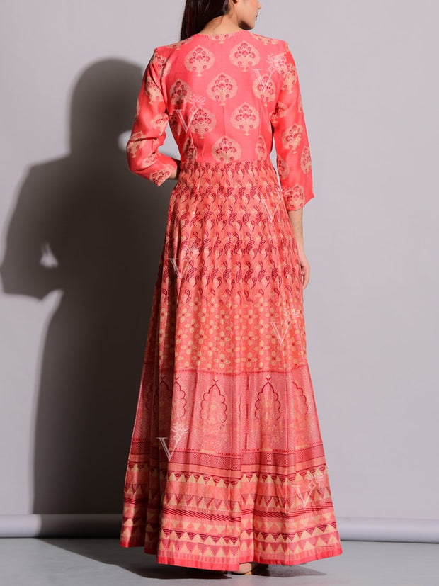 Peach Printed Anarkali Silk Tunic