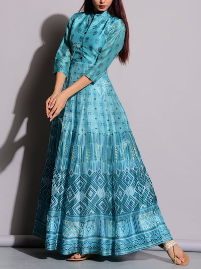 Cyan Blue Printed Anarkali Silk Tunic