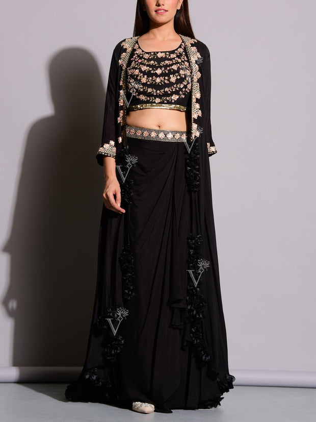 Black Drape Pant With Embroidered Jacket