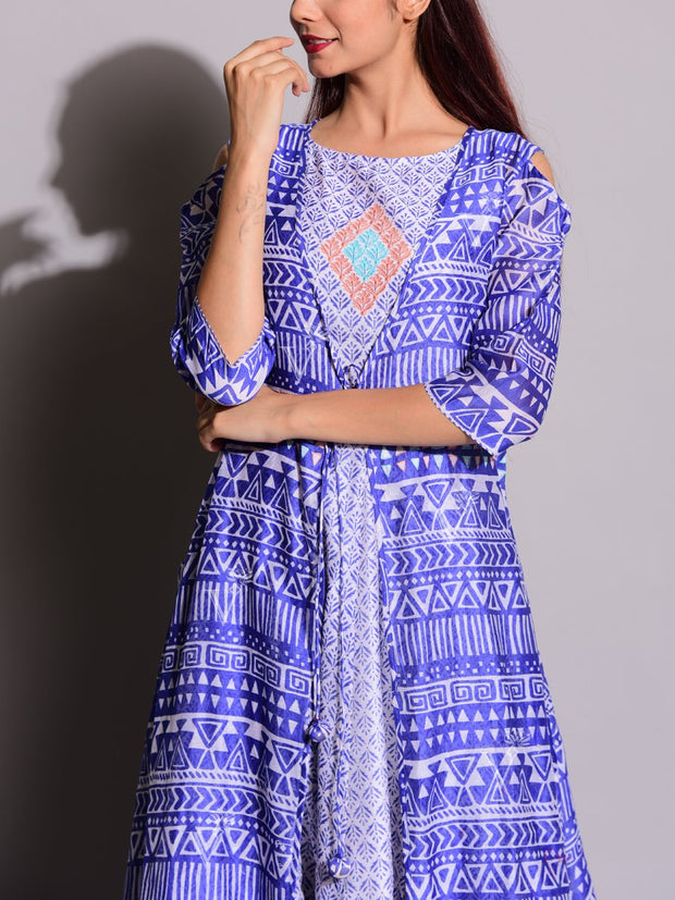 Indigo Blue Kurta With Printed Jacket