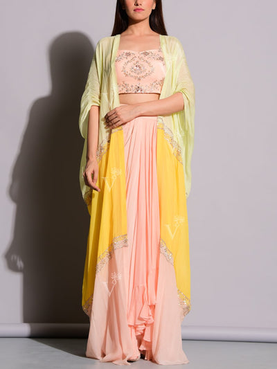 Fusion Wear, Indo Western, Light Weight, Festive Wear, Party Wear, Designer Wear, Embroidered, Drape Skirt, Dhoti Pant