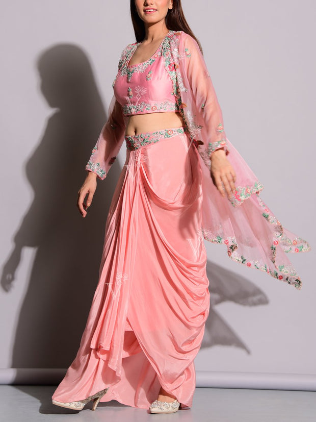 Powder Pink Drape Skirt With Embroidered Jacket