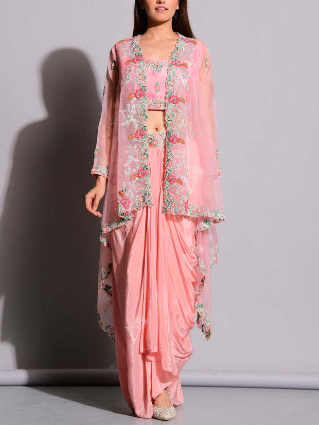 Fusion Wear, Indo Western, Haldi Outfit, Festive Wear, Party Wear, Designer Wear, Embroidered, Drape Skirt, Dhoti Pant