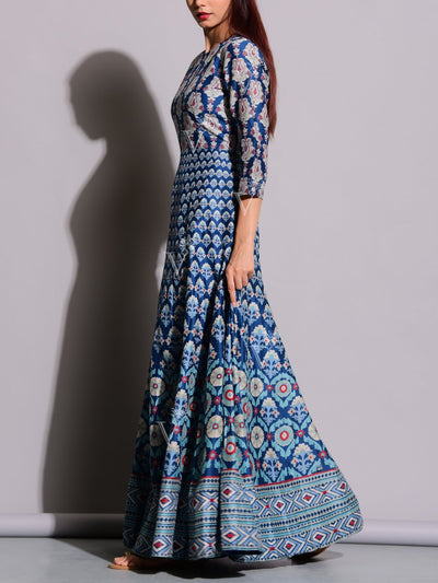 Blue Printed Anarkali Silk Tunic