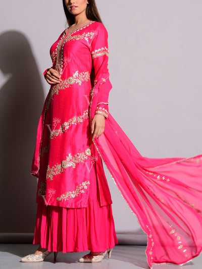 Bright Pink Silk Sharara Set