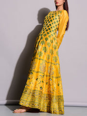 Yellow Printed Anarkali Silk Tunic