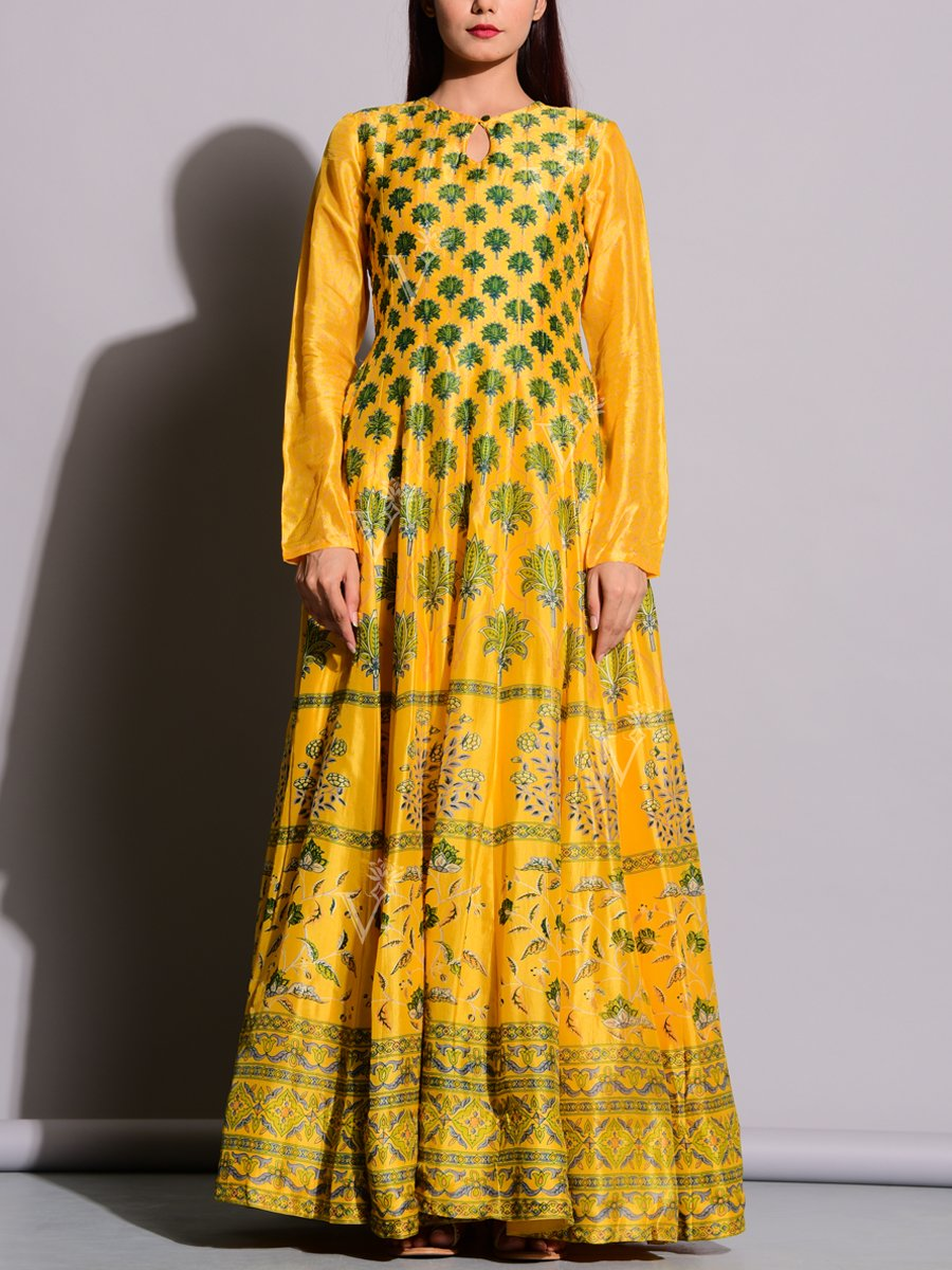 Bright Yellow Printed Anarkali Suit with Fresh Appeal
