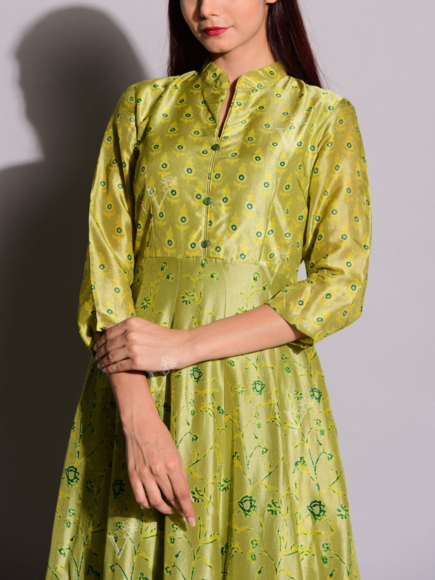 Green Printed Anarkali Silk Tunic
