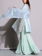 Pigeon Blue Embroidered Sharara Set