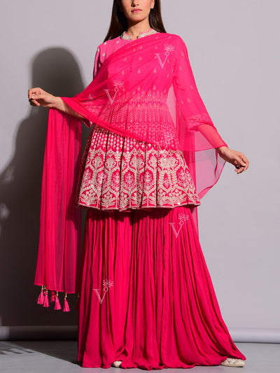 Sharara, Sharara Set, Georgette, Embroidery, Ombre, Suit, Suit Set, Floor Length, Light Wear, Party Wear, Designer Wear