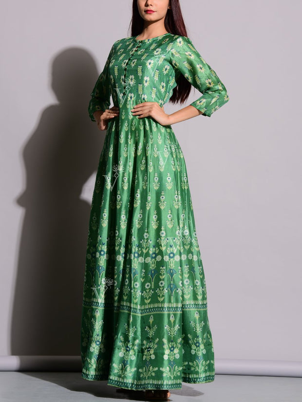 Jade Green Printed Anarkali Tunic