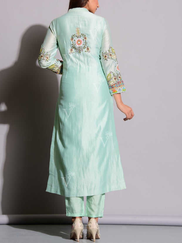 Aqua Green Embroidered Suit Set