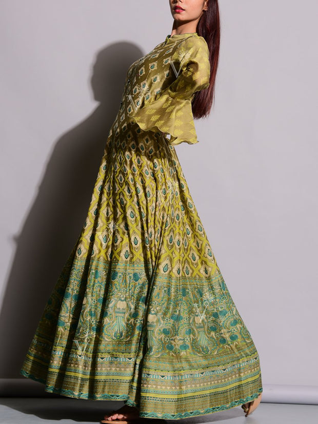 Olive Green Printed Silk Anarkali Tunic